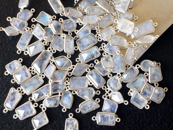 Rainbow Moonstone Faceted Fancy Shape Connectors by gemsforjewels