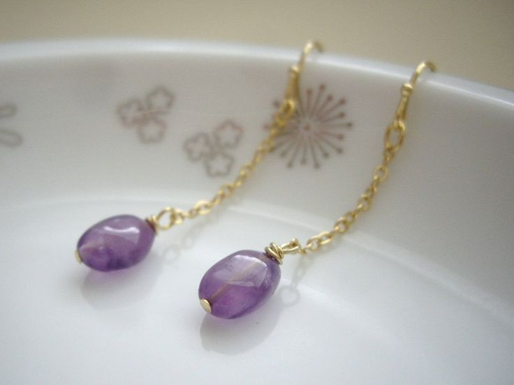 Amethyst chain earrings, Amethyst gold earrings, Minimal jewelry, Gift under 20, Gold chain, Purple earrings, Clip on, Birthstone gift by yokojewelry on Etsy