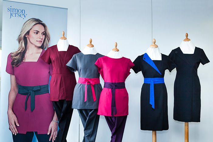 1000 images about spa salon beauty tunics simon for Spa uniform blue