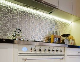 Pressed Tin Panels as seen in Dale and Sophie's kitchen splashback The Block 2012 www.pressedtinpanels.com