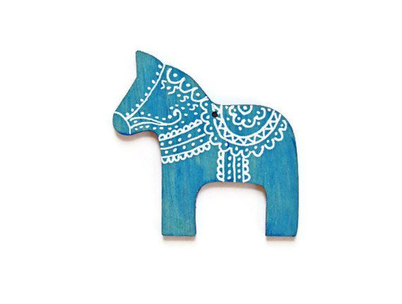 Swedish Dala Horse Ornament made to order turquoise blue and white Christmas ornament  handpainted wood ornament