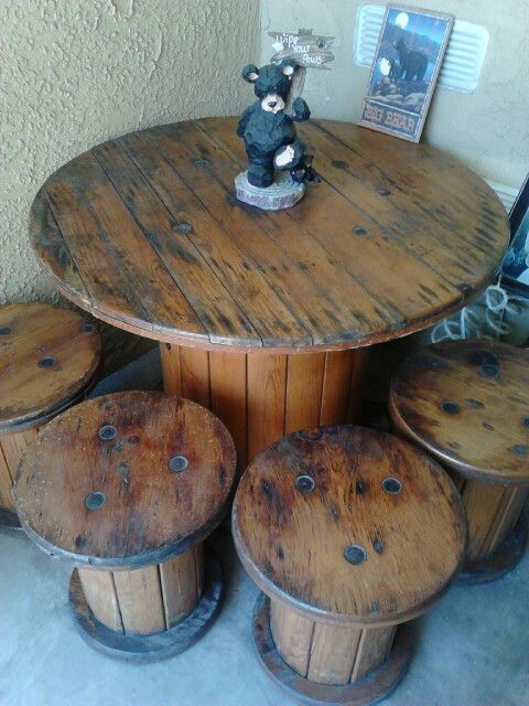 Spool Table with Small Spool Seats- I was so fortunate to find these at a local…