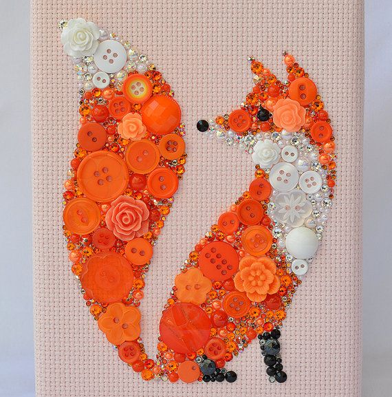 button art red fox handmade vintage button artwork
