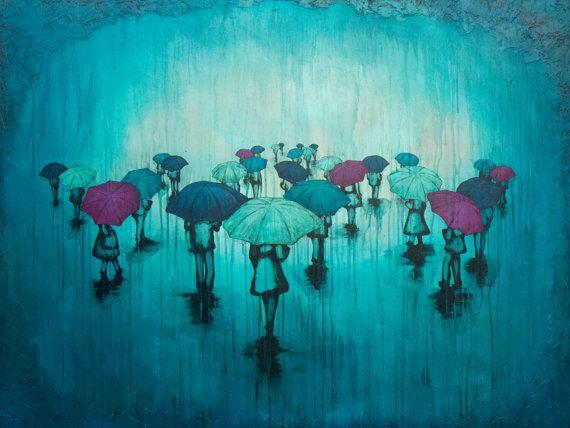 Rainy Day Art Print titled Blue and Purple by KendraStudiosInc