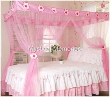Pink Flower Princess Mosquito Net 4 Poster Bed Canopy  sc 1 st  Pinterest & 38 best Canopy beds n tattoos images on Pinterest | Bed canopies ...