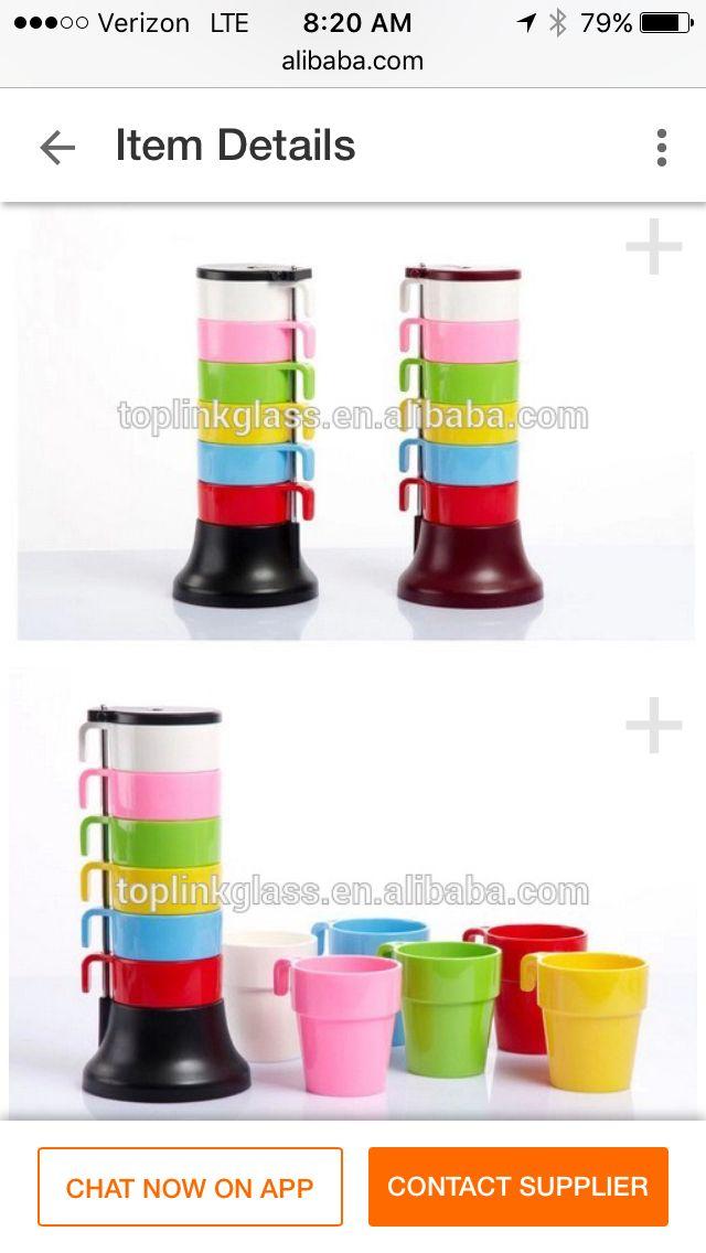 Stackable plastic mugs