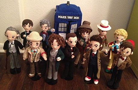 Eleven crocheted Doctors and a crocheted TARDIS by Crafty is Cool (she also sells the pattern for it on Etsy!)