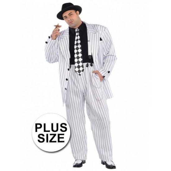 Grote maten gangster kostuum. Dit complete gangster kostuum voor heren bestaat uit een jas, broek, stropdas, bretels en hoed. Materiaal: 100% polyester.