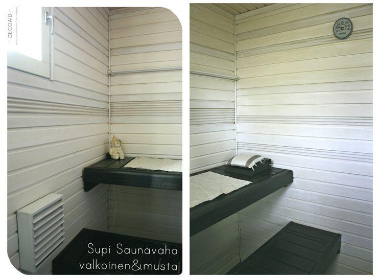 Musta-valkoinen sauna. #mustavalkoinensauna #saunanmaalaus #mustatauteet #valkoisetseinäpaneelit