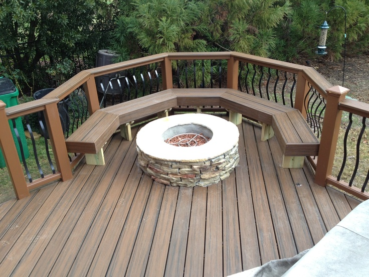 Trex Tanscends Composite Decking With Bench And Fire Pit By Archadeck Of  Charlotte