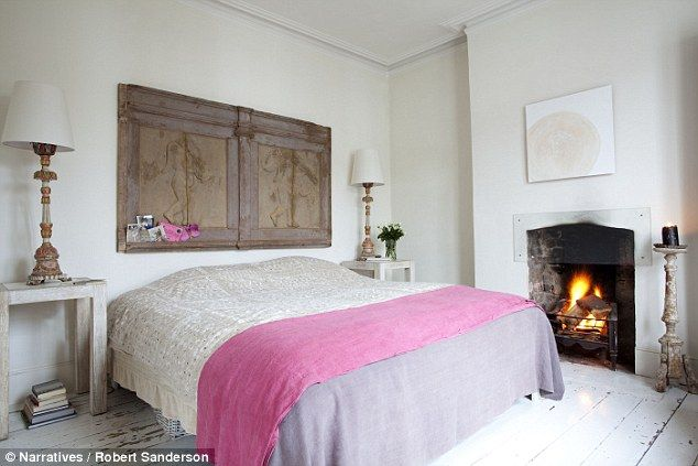 A French linen sheetdyed pink adds a shot of colour to the master bedroom. Dylon (dylon.co...