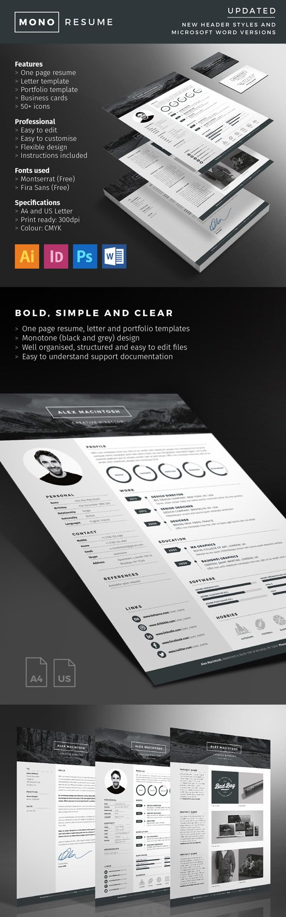 Mono Resume With Minimal Design 12 best