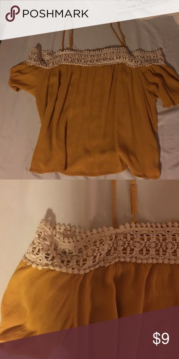 Target off the shoulder mustard yellow top mustard color, slightly cropped, lace detail Xhilaration Tops Tank Tops
