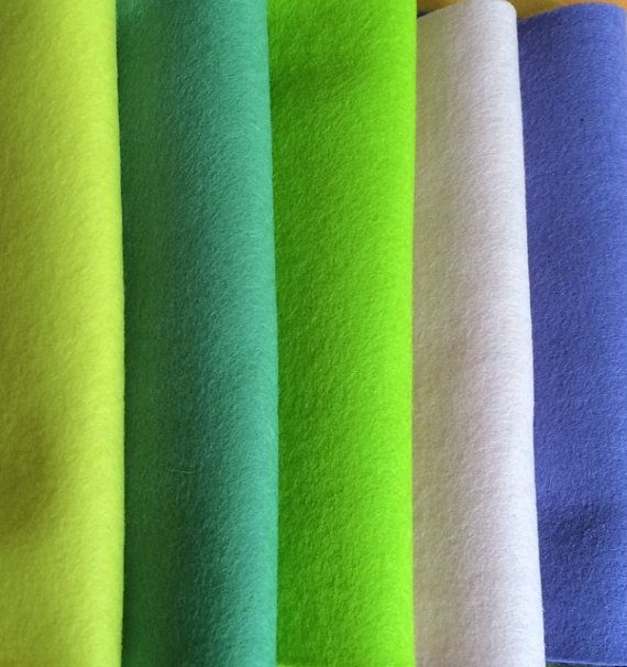 PURE WOOL FELT  Craft Supply 5 sheets Pastel by HeartFeltDolls