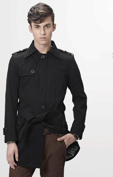 Korean Style Men Long Sleeve Single-Breasted Black Casual Cotton Coat M/L/XL/XXL @SJ45195b