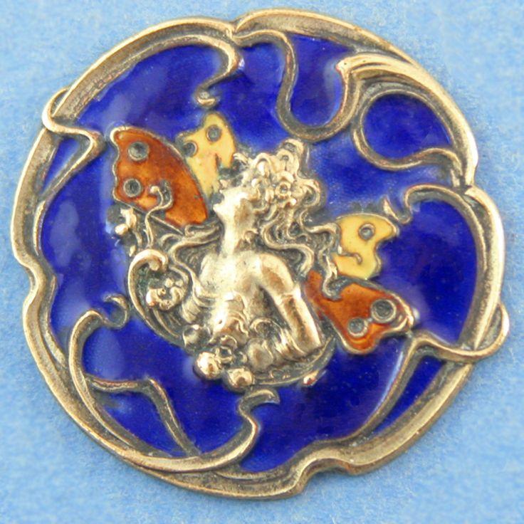 Antique silver & enamel Art Nouveau fairy button.