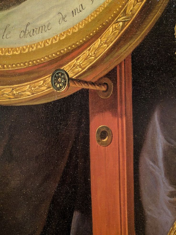 Detail, fancy easel peg, Portrait of Madame Adelaide, 1787, by Adelaide Labille-Guiard, Speed Art Museum