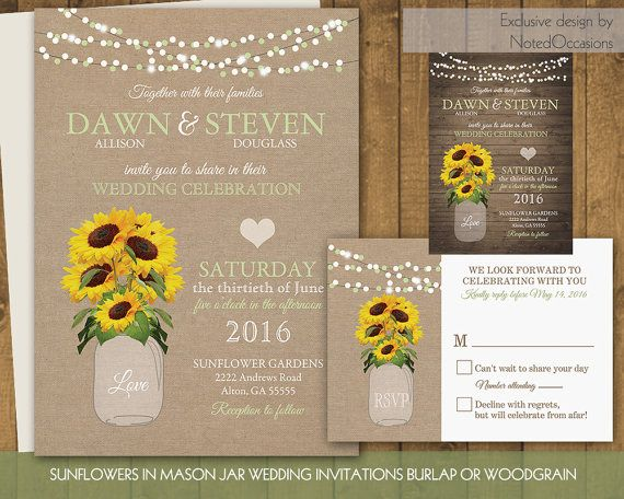Cheap Sunflower Wedding Invitations: 166 Best Fall Wedding Invitations For Rustic Fall Weddings