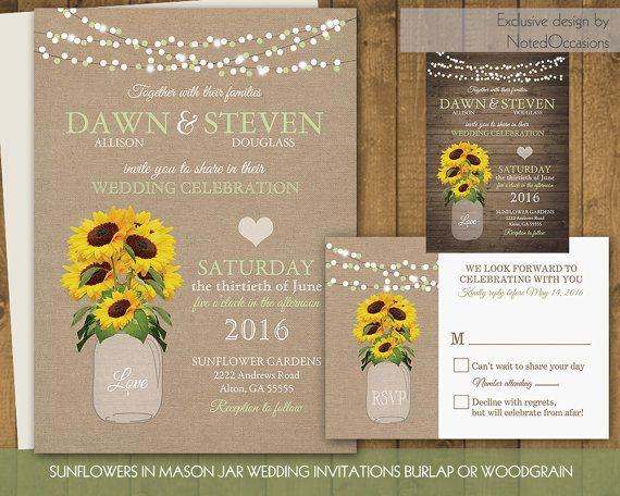 17 best ideas about Rustic Sunflower Weddings – Sunflower Wedding Invites