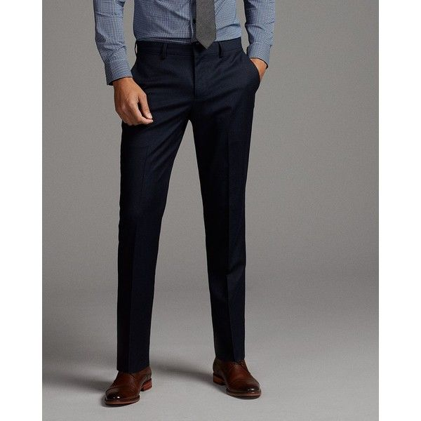 Express Slim Navy Stripe Wool Blend Suit Pant ($148) ❤ liked on Polyvore featuring men's fashion, men's clothing, men's pants, men's dress pants, blue, mens blue pants, mens dress pants, mens striped dress pants, mens zip off pants and mens navy blue pants