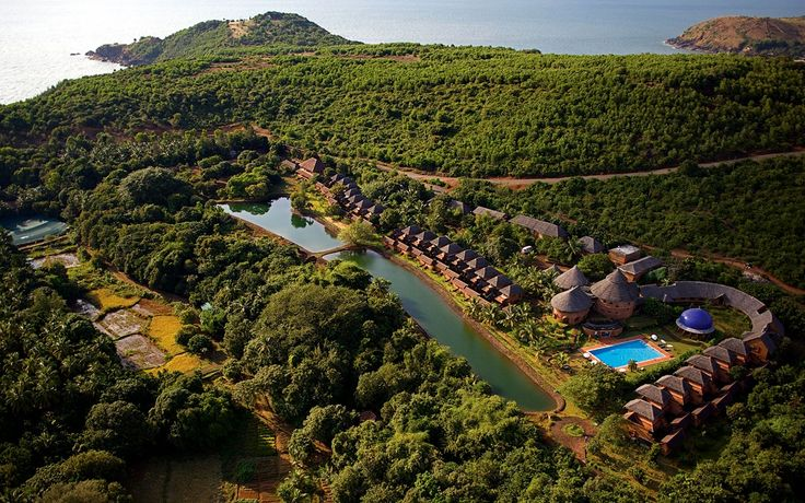 Aerial view of the beautiful SwaSwara resort, home to Kamalan's workshop in March 2015. To find out more, visit: goo.gl/MKHJzA