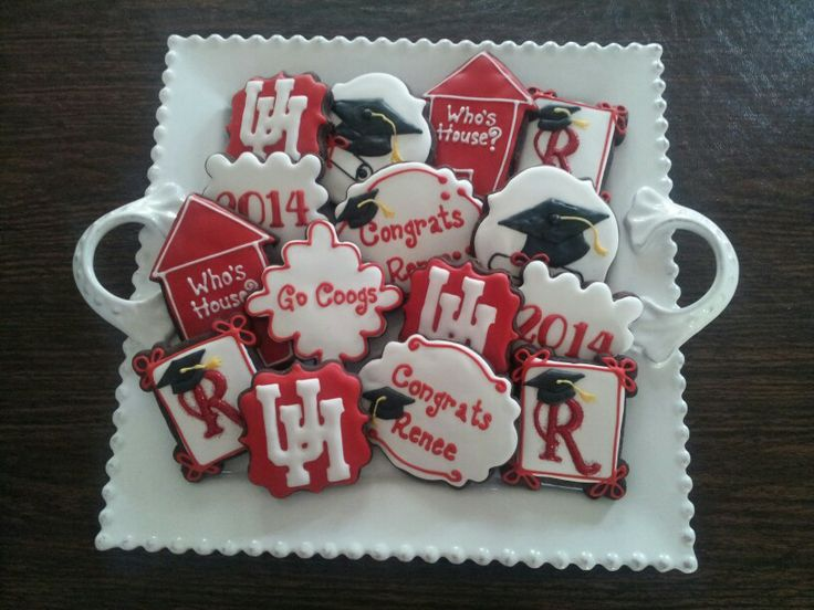 UH University of Houston graduation decorated sugar cookies Go Coogs. All copyrighted material used with permission.