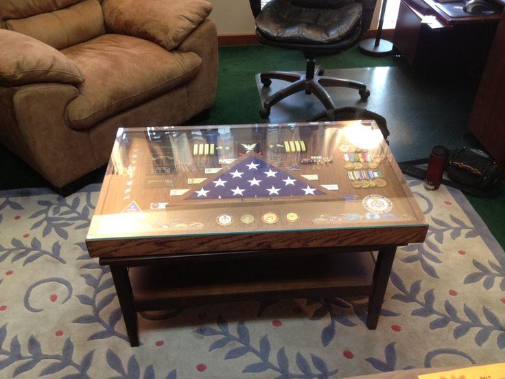 military shadow box end table