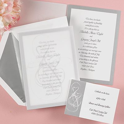 46 best silver wedding invitations images on pinterest silver this invitation ensemble features a bright white invitation card with a rich silver border surrounding stopboris Choice Image
