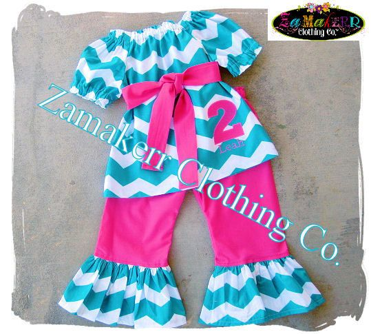 Custom Boutique Clothing Girl Chevron Outfit by ZamakerrClothingCo
