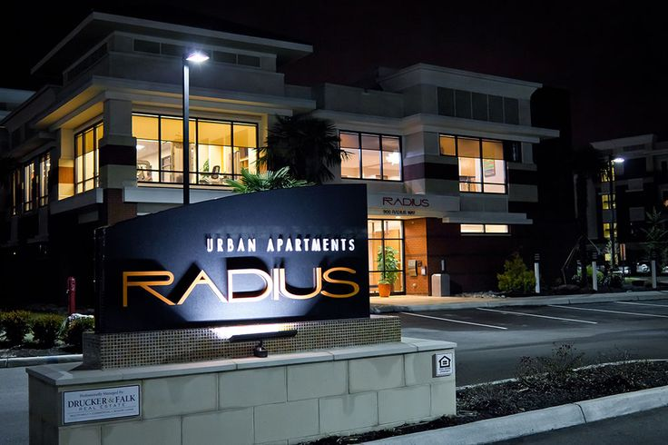 The outside of Radius Apartments' clubhouse. www.RadiusApartments.com