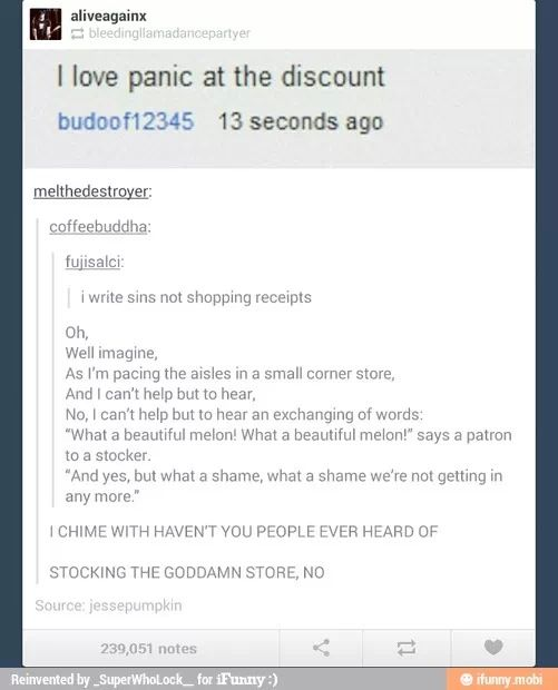 Panic! At the disco<<Excuse you, but it's Panic! At the Discount. Peasant.<<< I am about to die now. So let me just go laugh in my grave.