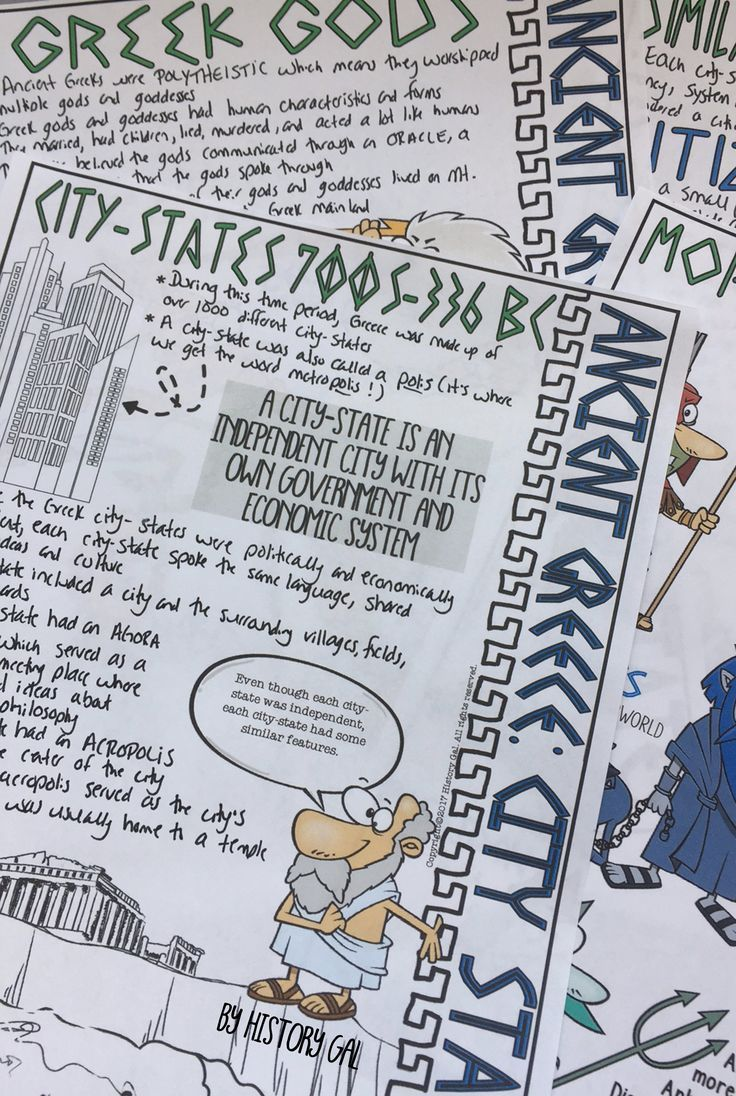 This Ancient Greece doodle notes set covers general information about Greek city-states including the characteristics of Greek city-states, Greek gods, who were the citizens, slavery, types of governments, military, Olympic Games, trade, important city-states. Students will enjoy coloring and doodling as they take notes to learn more about the Ancient Greeks.
