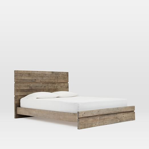 emmerson modern reclaimed wood bed stone gray - Modern Wood Bed Frame