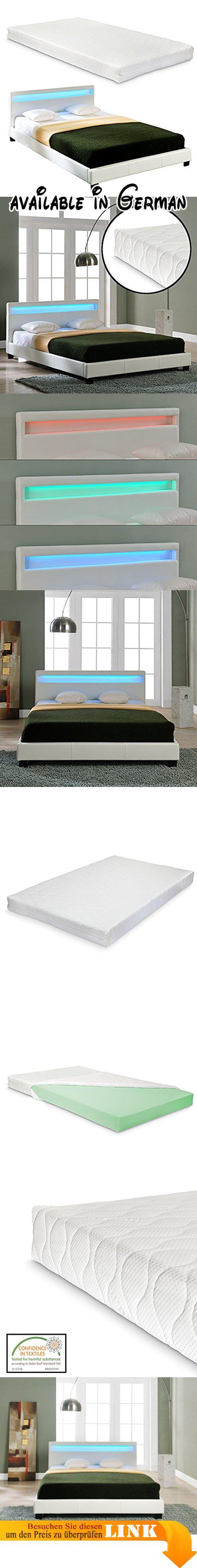 mit Kunst Leder Kunstlederbezug RGB Beleuchtung mit Stecklattenrost Farbe Weiß Innenmaße Bett [140x200cm] Außenmaße Bett [210cm
