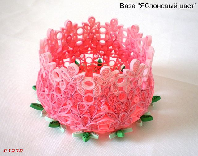 "Paper quilling Vase ""Apple Blossom"" by Tarbut2, via Flickr"