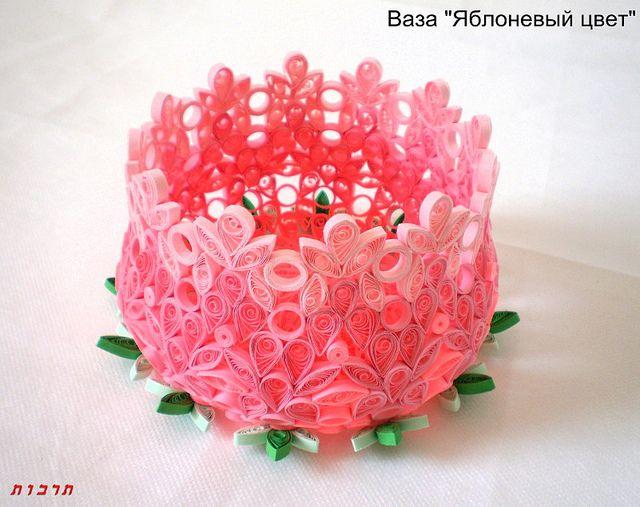 "Paper quilling Vase ""Apple Blossom"" by Tarbut2, via Flickr"