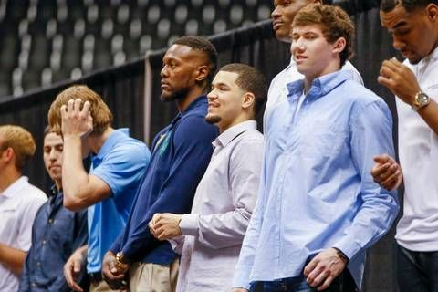 Wichita State players take in the applause from the crowd at the WSU basketball awards celebration at Koch Arena Thursday. (April 16, 2015)