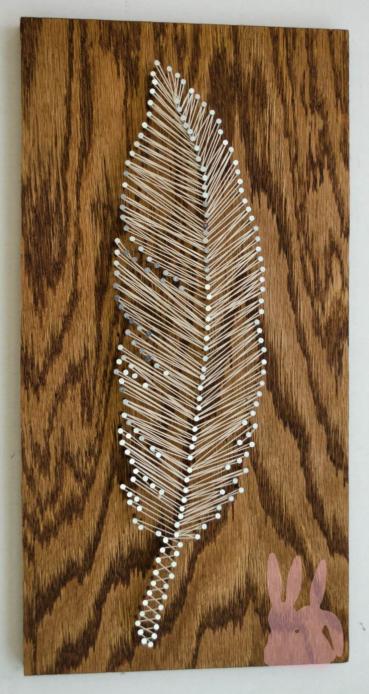 www.BinkyBunbun.com   8x16 string art feather