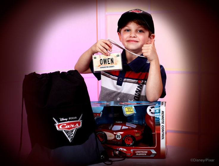 Owen with the 'Cars 2' Super Fan Kit from Disney Floral & Gifts: Gift