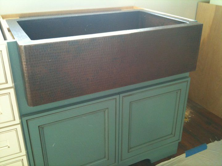 Is Cambria Canterbury With Bullnose Edge Hammered Copper Single Bowl Farmhouse Sink Teal Cabinet Designed By Ben Lee At Kitchen Sales Knoxville Tn