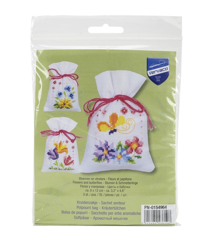 Celebrate the arrival of spring with dainty decor accents that can be made with the help of the Vervaco Set Of 3 3.25 x 4.75 Counted Cross Stitch Kit-Flowers And Butterflies. Featuring a lovely nature