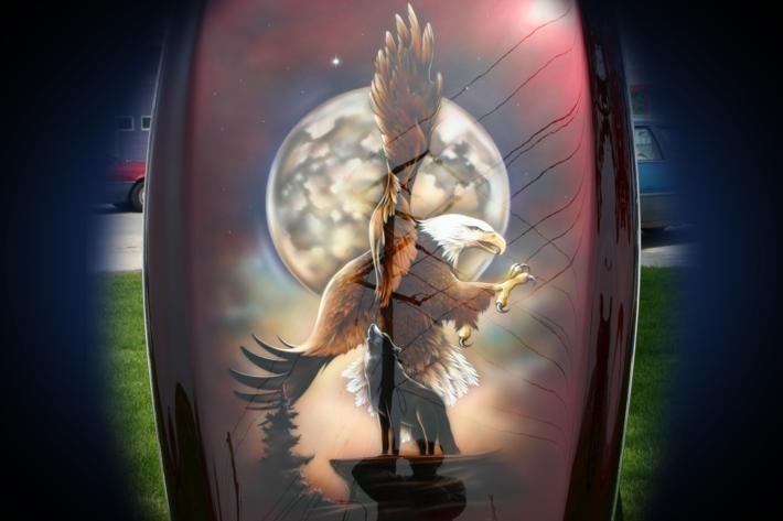 Motorcycle Wildlife Airbrush Art - Full Moon Bald Eagle - Bevin Finlay