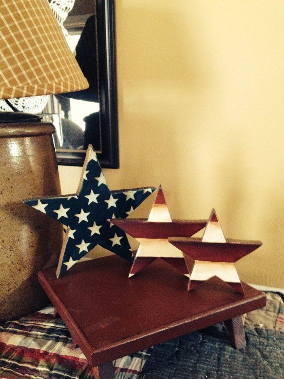 Primitive American Flag Waving Star Wood Shelf by VintageTrimmings, $18.00