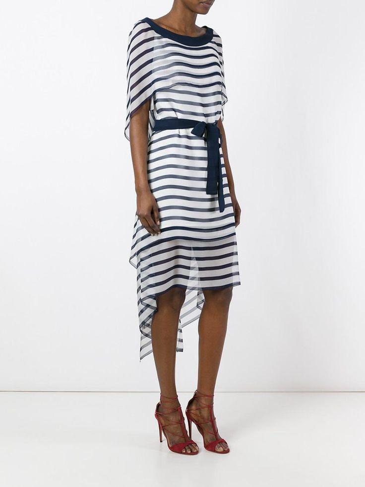 Alberta Ferretti прозрачное платье в полоску
