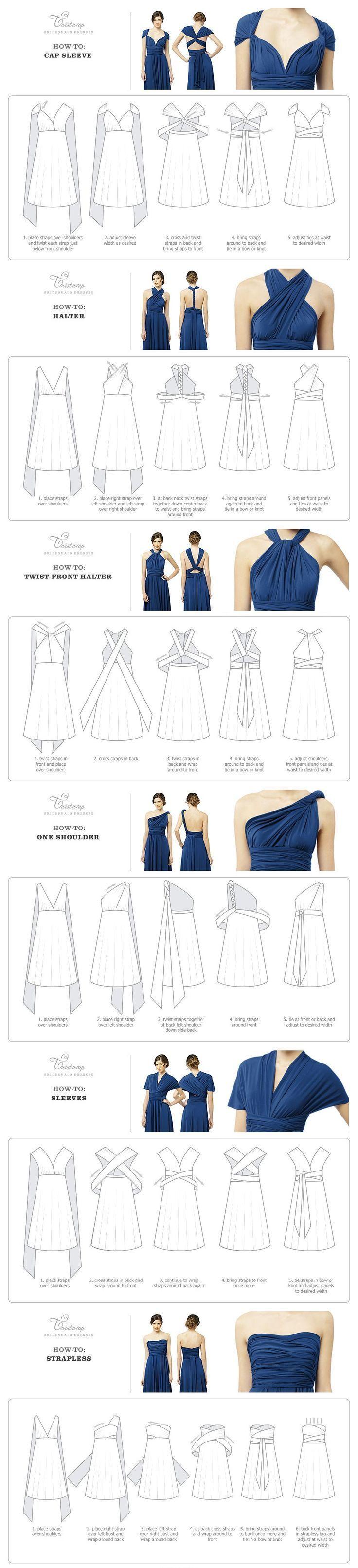 Twist Wrap Dress - How-To-Wear Instructions #flatlay #flatlays #flatlayapp www.theflatlay.com