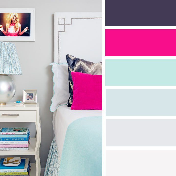 Find 1000s color inspiration for those who love color,The Best Color Schemes for Your Bedroom,Neutral Grey and pink color inspiration ,light turquoise and hot pink bedroom color schemes