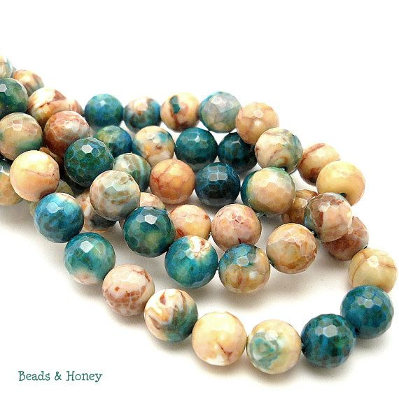 Agate Blue/Brown/White Fired Round Faceted 8mm by BeadsAndHoney, $37.80