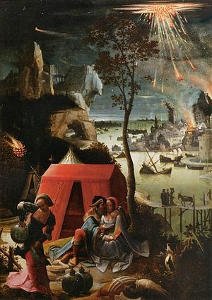 "Sodom and Gomorrah being destroyed in the background of Lucas van Leyden's 1520 painting ""Lot and his Daughters"""
