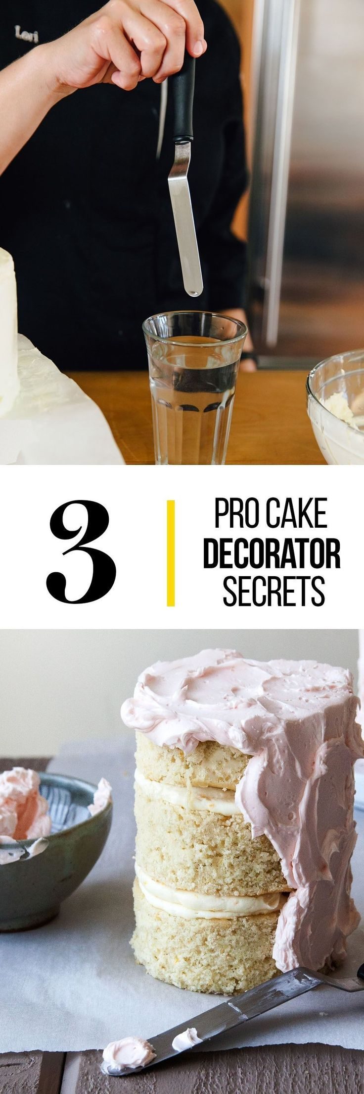 3 Things the Pros Do for a Better Frosted Cake. Want to learn how to perfectly frost a cake for the next birthday party you're baking a cake for? Read these tips and tricks! #cakedecoratingtutorials #dyicakedecorating