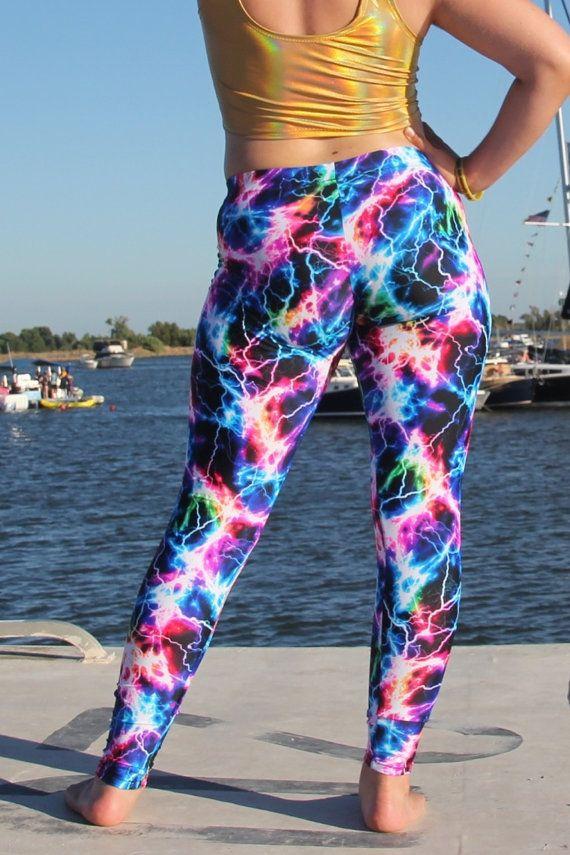 Lightning UV Women's Leggings Psychedelic Festival Pants // Burning Man Costume // UV Black Light Pants